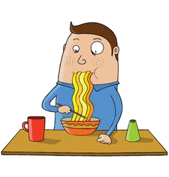 Eating noodles cartoon vector