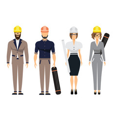 Engineers and architect set with civil engineering vector
