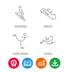 Fishing figure skating and bobsled icons vector