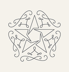 Floral monograms design template with star vintage vector image vector image