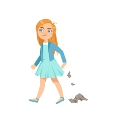 Girl littering teenage bully demonstrating vector