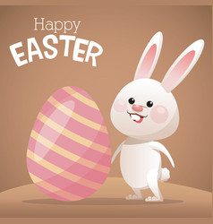Happy easter card bunny big egg vector