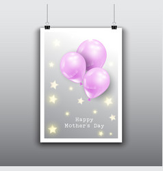 Happy mothers day card design with balloons vector