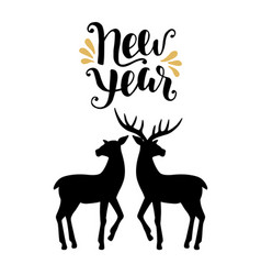 happy new year greeting card with calligraphy vector image vector image