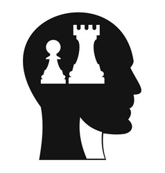 Head with queen and pawn chess icon simple style vector