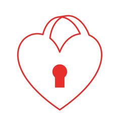 Heart love with key hole vector