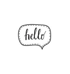 hello hand written words calligraphy in a speech vector image vector image
