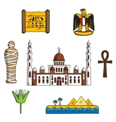 Icons and symbols of ancient Egypt vector image vector image
