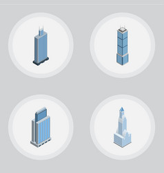 Isometric construction set of cityscape apartment vector
