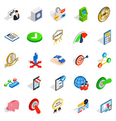 leadership icons set isometric style vector image