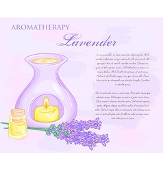 Oil burner with lavender flovers and essential oil vector