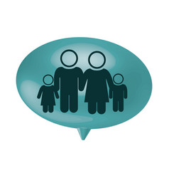 Oval speech with pictogram of family group vector