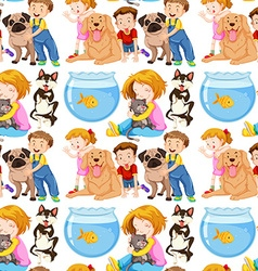 Seamless background with kids and pets vector