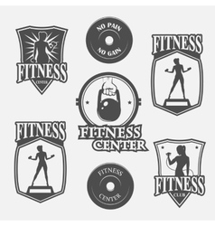 set of monochrome fitnes emblem vector image