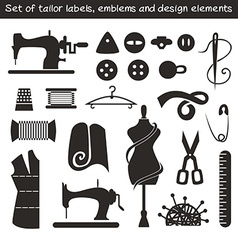 Set of tailor labels emblems and design elements vector image