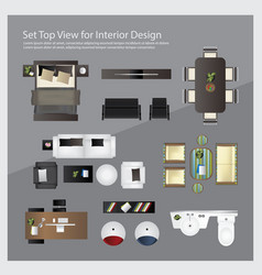Set top view for interior design isolated vector