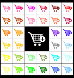 Shopping cart with add mark sign felt-pen vector