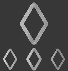 Silver line rhombus logo design set vector