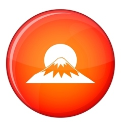 Sun and mountain icon flat style vector