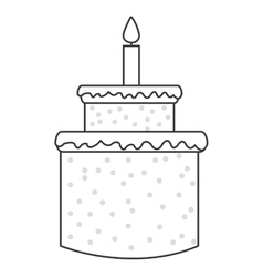 sweey cake birthday icon with candle vector image vector image