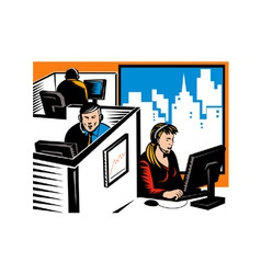Telemarketer office worker retro vector