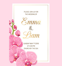 Wedding invitation template pink orchid frame gold vector