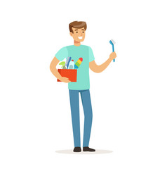 young smiling man cleaning his home house husband vector image vector image