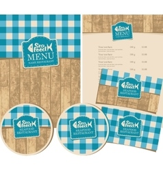 seafood restaurant with texture of wooden planks vector image
