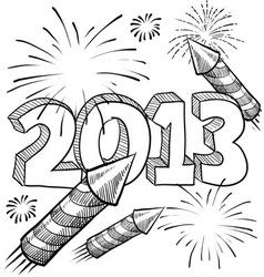 doodle pop fireworks vector image