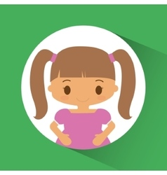 Girl kid inside circle design vector