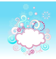 Abstract swirls background with cloud shape frame vector image