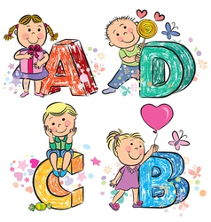 Funny alphabet with kids ABCD vector image