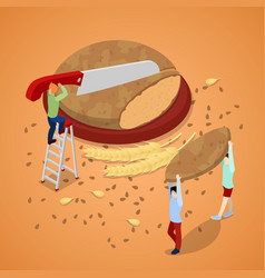 Cooking bread with miniature people vector