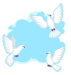 Background with white doves beautiful pigeons vector