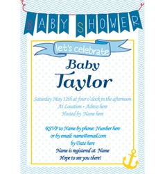 Baby-shower sailor blue vector