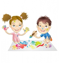 Children playing vector