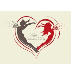 Couple in love with butterflies and hearts vector