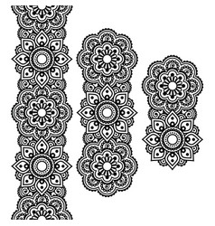 Mehndi indian henna tattoo long pattern design vector