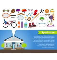 Sport store sports equipment and sports clothing vector