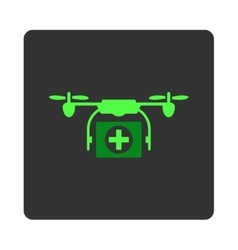 Medical drone flat button vector