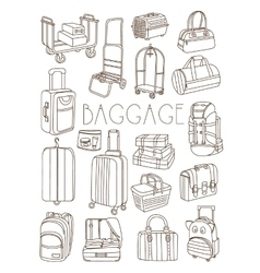 Travel Bags and Suitcases Hand Drawn Set vector image