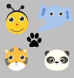 Face cute animals vector