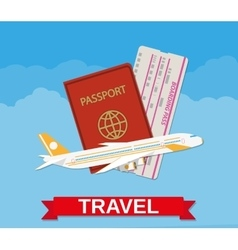 Jet airliner passport boarding pass ticket vector