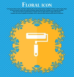 Paint roller icon floral flat design on a blue vector