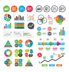Accounting icons document storage in folders vector