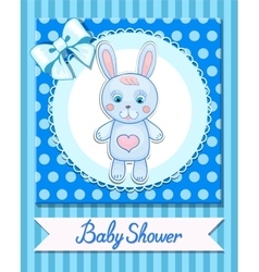 Baby shower hare postcard blue banner vector image
