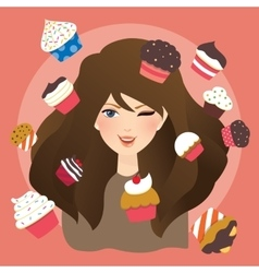 Beautiful girls woman with cup cakes vector