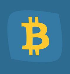 Big b symbol of bitcoin of gold color vector