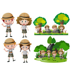 boys and girls in the wilderness vector image