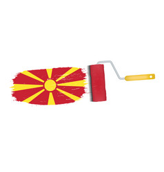 brush stroke with macedonia national flag isolated vector image vector image